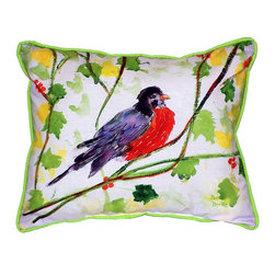 Betsy Drake Interiors - Betsy Drake Robin Indoor/Outdoor Pillow - Use Indoors Or Outdoors.  Bring Spring Into Your Home -- Brightens Up Any Room Or Patio.  Fade Resistant, Tough And Durable.  Spot Clean Or Machine Wash.