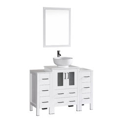 "Bosconi - 48"" Bosconi AB124RO2S Single Vanity, White - Elegance and style are made evident with this 48"" glossy white, Bosconi vanity set. The sharp modern lines are accentuated by the ceramic, round vessel sink and perfectly matching mirror. Features include one center cabinet with soft closing doors and two detached side cabinets with three drawers each. All spacious enough to store your towels, toiletries and bathroom accessories."