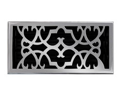 "Brass Elegans 120HR PWT Brass Decorative Floor Register Vent Cover - Victorian S - This pewter finish solid brass floor register heat vent cover with a victorian scroll design fits 6"" x 12"" x 2"" duct openings and adds the perfect accent to your home decor."