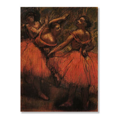 Gallery Direct - 'Orange Skirts' Print on Wood by Edgar Degas - Own this classic print on wood. Portions of this print that are light in color will have birch wood grain showing through, creating a unique effect.