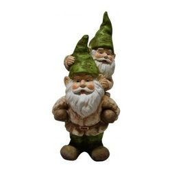 Alpine Corporation - Two Gnomes Playing Garden Statue - Add color, spice and life to your outdoors with these fiberglass gnome statuaries. Each has its own playful personality and is sure to bring a fanciful feel to any yard, garden or deck. These sturdy statuaries boast earth hues of green and beige.