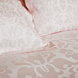 Luxe Jacquard Designer Duvet Cover, The Montgomery - As part of the Luxe Collection, the Montgomery's graceful grand damask floral pattern will give any room a luxurious and elegant look with its jacquard weave in a light blush pink. A brilliance of soft gradations of tones and contours of intricate floral and whimsy, the Montgomery is simple and subtle, a unique example of everyday luxury.