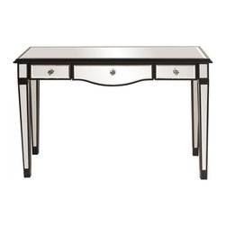 www.essentialsinside.com: mirrored 3 drawer vanity table, black lacquer trim - Mirrored 3 Drawer Vanity Table, Black Lacquer Trim by Uttermost, available at www.essentialsinside.com