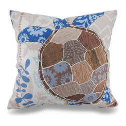 Zeckos - Barrier Reef Sea Turtle Ocean Themed Indoor / Outdoor Throw Pillow - Now you can beautifully accent your home inside or out in awesome ocean style with this striking blue and tan sea turtle throw pillow that's perfect for your living room sofa, the Adirondack chair on the patio or the chaise lounge in your garden oasis. The 100% polyester cover is water repellent and it's filled with 100% polyester fiber. Measuring 18 inches high by 18 inches long (46 cm by 46 cm), it would look amazing by a pool area, in your cottage or just tossed on the bed, and features a stylized sea turtle on both sides. It is recommended to dry clean or spot clean only. This bright and cheerful throw pillow would make an excellent housewarming gift for any turtle lover!
