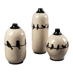 Sterling Industries - Birds on a Wire Ceramic Jars Decorative Accessory in Cream Glaze and Black , Set - Set of 3 Birds on a Wire Ceramic Jars by Sterling Industries