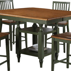 Steve Silver Candice 54x42 Counter Height Table in Oak and Green w/ 12 Inch Butt