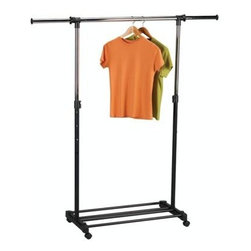 Household Essentials - Expandable Garment Rack, Chrome - Never suffer a cramped closet take advantage of our Extendable Garment Rack with lightweight construction and a rolling base for easy mobility. Its 4 adjustable heights suit nearly anyone comfortably and provide you up to 64 of hanging space.