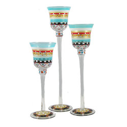 Golden Hill Studio - Mosaic Carnival Candlesticks, Set of 3 - Eye candy is a necessary ingredient of the visual feast you planned for your table. These three delicate glass candlesticks are hand-painted to lend a full spectrum of color and light to the menu.