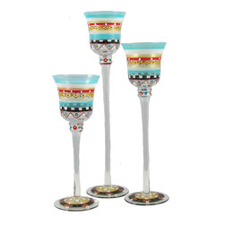 Golden Hill Studio - Mosaic Carnival Candlesticks S/3 - Eye candy is a necessary ingredient of the visual feast you planned for your table. These three delicate glass candlesticks are hand-painted to lend a full spectrum of color and light to the menu.