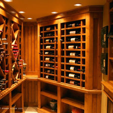 Transitional Wine Cellar by Brothers Construction