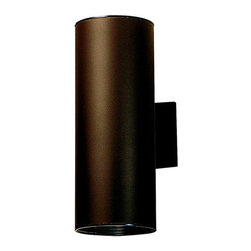 """Kichler - Cans and Bullets 15"""" Architectural Bronze Incandescent  Outdoor Wall Lantern - This handsomely modern wall mount is the perfect light for porches, pathways, and steps. While remaining unobtrusive and understated, it adds a beautiful contemporary feel to any outdoor area. Features: -Two light outdoor wall lantern -Cans and Bullets collection -Architectural bronze finish -Aluminum body -Maximum wattage: 150W -Voltage: 120V -Medium base to accommodate 2 regular incandescent bulb (not included) -Dimensions: 15"""" H x 6"""" W -Suitable for damp locations About Kichler: Kichler Lighting is a four-time winner of the Arts Award as Lighting Manufacturer of the Year. The highest accolade our lighting industry can give. Today they are the leading decorative lighting fixture company in the world. Founded in 1938, Kichler remains a privately held, family owned and run business staffed by people who understand decorative home lighting fixtures and who care about their customers. Kichler has built their reputation on original, design-oriented, high quality lighting products at competitive prices, backed by the finest customer service in the industry. Helping to make your house a home is their job and our number one priority. They do this by providing their customers with the widest assortment of home lighting fixtures and home decor accessories in the industry. The Kichler family of brands offers lighting for every room in your home, designed to fit every pocketbook, offering choices to complement your lifestyle and tastes."""