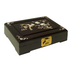 Golden Lotus - Chinese Handmade Rosewood Box with Mother Pearl Inlay - This is a Chinese handmade rosewood box with mother pearl inlay. Elegant box for either jewelry, make-up or other uses.