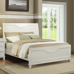 Tribecca Home - Tribecca Home Alderson Cottage White Beadboard Crescent Shaped Queen-size Bed - Give your bedroom a rustic feel with this white-washed queen size wood bed. This bed has cottage-inspired planking on the headboard and footboard and includes a set of rails and three slats. Sturdy poplar wood gives you a bed that will last.