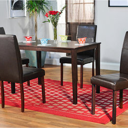 Simple Living - Simple Living Bettega Parson 5-piece Dining Set - Add style and functionality to your dining room with this five-piece brown dining set from Bettega that features classic Parson chairs and a Shaker table. This set is made using rubberwood and engineered wood,so it is durable enough for everyday use.