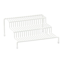 None - 3-tier Vertical Metal Wire Spice Rack - This three-tier vertical space rack is constructed with metal wire and finished with a white vinyl coating. Keep your spices organized for convenient cooking and storage with this three-tier rack.