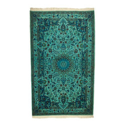 West of Hudson - Overdyed Persian Nain Vintage Rug Teal, 4.08x6.58 Ft. - Handknotted one of a kind over-dyed rug with vibrant colors. West of Hudson is proud to offer authentic vintage and new hand knotted rugs that that are carefully selected for our exclusive overdye collection. Each rug is a unique work of art. 100% handmade from start to finish.