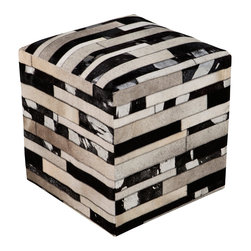 Surya - Surya Linear Gray/Black Leather Pouf - The modern Surya Linear pouf delivers a purely posh presence. In classic neutrals, the foot rest's marbled stripe pattern elicits simplistic geometric intrigue. 100% leather; Shades of brown, black, gray and cream.