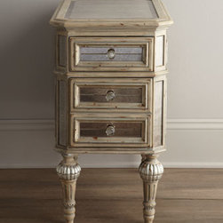 Horchow - Dresden Mirrored Side Table - A reflective side table that fits just where you need it. Imported. Side table is made of select hardwoods in an antique-cream finish with silvery accents. Antiqued mirrored glass panels all around and beveled mirror on top. Two drawers (bottom drawe...