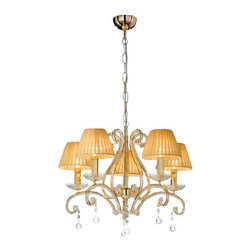 """Masiero - Masiero 8013 5 Chandelier - The 8013 5 Chandelier is part of a collection of High End light fixtures designed by Studio Stile Masiero in Italy for Masiero. This hanging lamp is a beautiful and harmonious piece that brings to classicism and modernism a new perspective. 8013 5 chandelier is an elegant light fixture consisting of a metal structure in gold-plated finish covered with delicate Asfour crystal pearls. This fixture can not be completed without little glass dishes that dress the branches suporting candle lights and elegant amber silk organza lampshades. Transparent drops that hang downwards from the lamp are a choice of Asfour or Strass Swarorvski crystals. This is a stylish and contemporary chandelier that will light up any environment. Illumination is provided by E14 60W Incandescent bulb (not included).      Product Details: The 8013  5 Chandelier is part of a collection of High End light fixtures designed by Studio Stile Masiero  in Italy for Masiero. This hanging lamp is a beautiful and harmonious piece that brings to classicism and modernism a new perspective. 8013 5 chandelier is an elegant light fixture  consisting of a metal structure in gold-plated finish covered with delicate Asfour crystal pearls. This fixture can not be completed without little glass dishes that dress the branches suporting candle lights and elegant amber silk organza lampshades. Transparent drops that hang downwards from the lamp are a choice of Asfour or Strass Swarorvski crystals. This is a stylish and contemporary chandelier that will light up any environment. Illumination  is provided by   E14 60W Incandescent    bulb (not included). Details:                         Manufacturer:            Masiero                            Designer:            Studio Stile Masiero                            Made in:            Italy                            Dimensions:                        Height: 20.1""""(51cm) X Diameter: 22.8""""(58cm)                                         Lig"""
