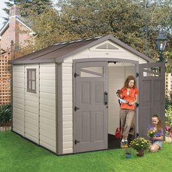 Keter North America - Keter Orion 8 x 9 ft. Storage Shed Multicolor - 211979 - Shop for Sheds and Storage from Hayneedle.com! If your lawn mower didn't need a place of its own like you'd find in the Keter Orion 8 x 9 ft. Storage Shed you could just let it sleep at the foot of your bed every night. While that may work for you the rest of your family will definitely appreciate the ample storage space inside the steel frame and polypropylene-paneled construction of this attractive and durable shed. An integrated skylight windows on each door and an integrated side window let you take advantage of natural illumination while the opening side window and ventilation panels help you control moisture odors and pests. A water collection gutter is built into the roof design helping keep your belongings safe and dry during the rainy season. Heavy-duty hinges handles and a locking bolt make sure that you have access and security when you need it. Engineered for long-lasting strength this attractive and all-climate outdoor shed will give you approximately 520 cubic square feet of storage to help you get your garden pool or garage organized and ready to enjoy. This shed can be assembled in a day. Dimensions: Interior dimensions: 7.6W x 8.6D x 7.9H feet Exterior dimensions: 8.3W x 9.4D x 8.3H feet For your convenience liftgate service is included with this purchase. This means that upon delivery the carrier will use a liftgate on the truck to lower your item to the ground. You will then need a dolly or handtruck or assistance with the product from that point on. Many retailers charge for this service of getting the package off the truck or require the customer to do it themselves.About KeterFor over 60 years Keter Plastic has proven its commitment to innovation quality and design by continually meeting changing needs and trends. Keter's product range reaches a consumer base across the world focusing on outdoor furniture and storage with a commitment to the environment.