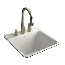 KOHLER - KOHLER K-6656-3-0 Park Falls Tile-In Utility Sink w/ Three-Hole Faucet Drilling - KOHLER K-6656-3-0 Park Falls Tile-In Utility Sink with Three-Hole Faucet Drilling in White