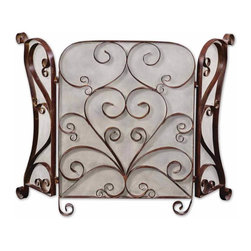 Uttermost - Brown Lovely Fireplace Screen Made Forged Metal Cocoa Brown Home Decor - Brown lovely fireplace screen made of hand forged metal with a lightly distressed cocoa brown home accent decor