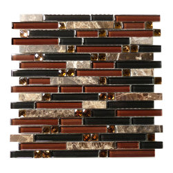 "Euro Glass - Symphony Wooden Chant  Random Bricks Brown Glamour Series Glossy Glass and Stone - Sheet size:  1 Sq. Ft.        Tile Size:  Random Bricks        Tiles per sheet:  93        Tile thickness:  1/4""        Grout Joints:  1/8""        Sheet Mount:  Mesh Backed        Sold by the sheet    -"