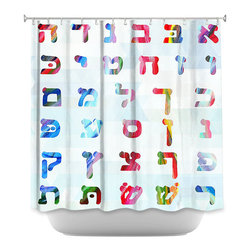 DiaNoche Designs - Shower Curtain - Rainbow Alphabet - DiaNoche Designs works with artists from around the world to bring unique, artistic products to decorate all aspects of your home.  Our designer Shower Curtains will be the talk of every guest to visit your bathroom!  Our Shower Curtains have Sewn reinforced holes for curtain rings, Shower Curtain Rings Not Included.  Dye Sublimation printing adheres the ink to the material for long life and durability. Machine Wash upon arrival for maximum softness on cold and dry low.  Printed in USA.