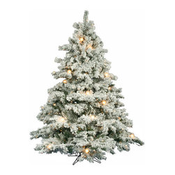 Vickerman - Flocked Alaskan 6.5' Artificial Christmas Tree with Clear G50 Lights - Features: -Artificial Christmas tree. -Flocked Alaskan collection. -Prelit with 600 clear 30xG50Fw Dura-Lit mini lights. -1045 Tips. -Heavy duty metal stand. -Includes one extra set of 50 mini lights. -Assembly required. -Manufacturer provides 10 years construction warranty on tree and 5 years or 3000 hours warranty on light.