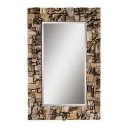 Uttermost - Uttermost 5031 Thatcher Teak Root Mirror - Frame is made of crude chunks and small pieces of teak root pieced together on a solid mango wood backing.