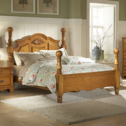 Homelegance - Homelegance Archdale Poster Bed in Warm Honey Pine California King - Classic design themes are blended to create a timeless look for your bedroom. The Archdale Collection features a warm honey pine finish and shell motifs throughout while turned cannonball posts lend to the traditional feel of the group. Antiqued metal bale hardware is featured on each case piece rounding out this traditional bedroom offering. - 2139K-CK.  Product features: Four Poster Bed; Cannonball Posts; Warm Honey Pine Finish; Available in California King, Eastern King and Queen sizes. Product includes: Headboard (1); Footboard (1); Rails & Slats (1). Poster Bed in Warm Honey Pine belongs to Archdale Collection by Homelegance.