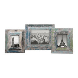 "Uttermost - Uttermost Acheron Photo Frames, Set of 3 18560 - Frames are finished in heavily distressed shades of blue and green with an antiqued ivory wash. Sizes: Small 9""W x 11""H x 1""D, Medium 10""W x 12""H x 1""D, Large 13""W x 15""H x 1""D. Holds photo sizes 4""W x 6""H, 5""W x 7""H, 8""W x 10""H."