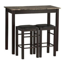 Linon - 3 Pc Counter Dining Set in Espresso Finish - Includes rectangular table and 2 backless counter stools. Stools tuck neatly under the table when not in use. Faux stone paper wrapped top is MDF & laminated with paper that looks like marble. Space saving design and convenience. Constructed from local hardwood, paper veneer on top, PVC and CA fire foam. Espresso finish. Assembly required. Table: 22.25 in. L x 42 in. W x 36 in. H (49.9 lbs.). Stool: 13.75 in. W x 13.75 in. D x 24 in. H Tavern 3 Piece Counter Dining Set with space saving convenience. This set features a simple rectangular table on long sturdy legs with 2 backless counter height stools with padded, black vinyl seat covers. Made from solid woods and a faux stone paper wrapped top.