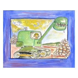 Oh How Cute Kids by Serena Bowman - Excavator, Ready To Hang Canvas Kid's Wall Decor, 16 X 20 - Every kid is unique and special in their own way so why shouldn't their wall decor be so as well! With our extensive selection of canvas wall art for kids, from princesses to spaceships and cowboys to travel girls, we'll help you find that perfect piece for your special one.  Or fill the entire room with our imaginative art, every canvas is part of a coordinating series, an easy way to provide a complete and unified look for any room.
