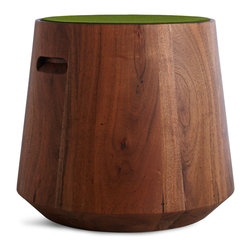 Blu Dot - Blu Dot Turn Stool w/ Felt - Green Olive, Acacia / Green Olive - Solid Acacia wood topped with the thick cut felt top of your choice in five colors (also sold separately) to suit your decor or mood. Cut out handles invite easy relocation for use as spontaneous seating, side tables or an ottoman. The Turn Stool is made from solid wood. This means that it may react dynamically to its environment and swell and crack with changes in humidity and temperature.Solid, turned Acacia wood, Felt top: 100% Merino, felted wool