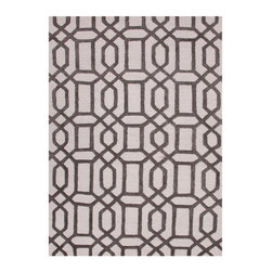 City Antique White and Liquorice Hand Tufted Rug 5' x 8' - High-low pile offers chic sharpness to a pattern adapted from uptown ironwork and Near Eastern carvings. One of the bold, symmetrical geometric looks available in rugs from the City collection, this design in Antique White and Liquorice makes smoky neutrals into a thrilling, prominent design choice for the transitional home. Hand-tufting in wool with touches of art silk yields the lush depth.