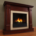 Real Flame - Silverton Ventless Gel Fireplace in Dark Maho - Uses clean burning Real Flame gel fuel emitting up to 9,000 BTUs of heat per hour lasting up to 3 hours.. Solid wood and veneered MDF construction.. Fireplace includes wooden mantel, firebox, hand painted cast-concrete log, and screen kit.. Uses Real Flame 13 Oz. gel fuel, not included.. Assembly Required. 48 in. W x 13 in. D x 41 in. H (91 lbs.)Curl up by the comforting glow of this Real Flame fireplace anywhere in your home. Ideal for living rooms, family rooms or bedrooms, the free-standing Silverton offers clean lines and transitional styling that will add instant ambiance to any home.  Uses 13 oz. cans of Real Flame Gel Fuel.