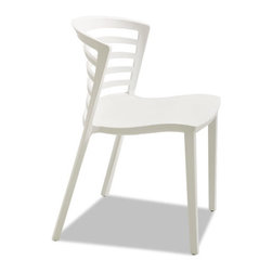 Safco - Safco Entourage Stack Chair, White, 4 per Carton - Outdoor rated for UV, this stack chair is a great addition to outdoor spaces including patios, break areas and common areas. Constructed of one-piece, solid, molded resin the chair features a contoured seat and back for comfort. A sleek design allows it to also be used indoors in meetings areas, break rooms, lunchrooms, schools and other gathering spaces. Chairs easily stack up to eight high when not needed. Use with Entourage Tables.