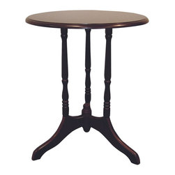 ORE International - Round End Table w Tripod Style Base in Cherry - Classic turned legs . Made of wood composite. 19 in. W x 19 in. D x 23 in. H (8 lbs.)Dress up a hall or entryway with a touch of classic elegance. This design add warmth and visual interest to this round end table, a perfect pairing with an armchair or sofa, especially when teamed with an optional matching unit. And will be a budget friendly way to enhance your home's decor.