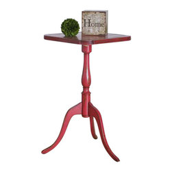 Uttermost Valent Red Accent Table - Petite, carved mango wood with mindi veneer, hand finished in raspberry with rubbed through distressing. Petite, carved mango wood with mindi veneer, hand finished in raspberry with rubbed through distressing.