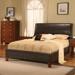 Domusindo - Synthetic Leather Twin-size Wingback Bed - Add style and functionality to your bedroom decor with this twin size sleigh bed Bed features an upholstered headboard with wings to give a cozy, sheltered feel Bed has luxurious padded leatherette upholstery