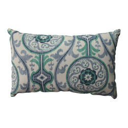 Pillow Perfect - Suzani Green, Blue, Beige Pillow - - Pillow Perfect Suzani Damask Green Rectangular Throw Pillow  - Sewn Seam Closure  - Spot Clean Only  - Finish/Color: Green/Blue/Beige  - Product Width: 18.5  - Product Depth: 11.5  - Product Height: 5  - Product Weight: 0.5  - Material Textile: 100% Cotton  - Material Fill: 100% Recycled Virgin Polyester Fill Pillow Perfect - 513294