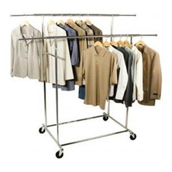 Richards Homewares - Garment Rack Chrome Kd Commercial Parallel - Folds flat when not in use. Holds up to 200 Lbs. in clothing weight evenly distributed. Height adjusts from 57' to 67'. Each hang bar can extend out 10' for extra hanging storage.