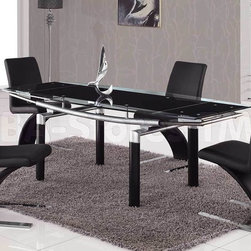 5 PC Foldable Dining Set in Black - Global Furniture USA - This astonishing and stylish Foldable Dining Set in Black will assist you establish a blithe aura of comfort and modernity in your kitchen or dining area.  The table features rectangular black glass top which is framed with clear glass and folding sides. The tubular legs are made of black and silver metal. To strengthen the grace of the set the table is combined with the Zigzag Dining Chairs in Black. The black leather match chairs with intricate shape are accented by the silver base. Each chair features bold geometric lines and zigzag shapes to emphasize its strong contemporary ambiance. This piece features a durable wood veneer construction and encompasses detailed craftsmanship. Make your dining room a comfortable and graceful place with this sleek designed dining set.