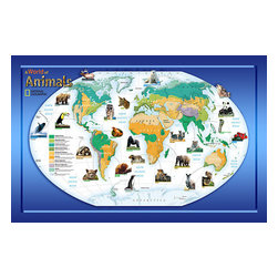 Animals of the World Wall Mural - This educational National Geographic mural features a map of the world with facts about animal habitats. A great kids mural or beautiful in classroom decor.