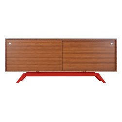 Eastvold Furniture - Elko Credenza, Bamboo, Red Base - Drop your keys, hide your files, stack your dishes and house your audiovisual equipment behind the sliding doors of this sleek credenza. The top is made in solid bamboo and boosts versatility with adjustable shelves and wire access. The laser cut, powder-coated base comes in one of six colors to create a midcentury meets modern love match.