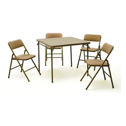 Cosco Office - 34 in. Square Folding Table w 4 Chairs in Tan - 5-Piece set. 34 in. Square folding table with 4 chairs. All 4 chairs are padded with fabric cushioned seat and backs. Tables and chairs are made of heavy-duty steel scratch resistant frames. Leg tips so legs won't scuff floors. Chairs made from heavy duty tubular steel frame. Easy to clean and easy to fold away for storing. 5-Year limited warranty. Table: 34 in. W x 34 in. D x 28 in. H. Chairs: 16.75 in. W x 20.25 in. D x 34.75 in. HBe ready for guests with instant seating for four. Comfortable for entertaining and compact for storage, our sets feature durable steel frames and a powder-coated finish. The more the merrier. This tan set comes with a sturdy 34 in. square table with low maintenance and easy to clean vinyl top. The four chairs are upholstered in an attractive fabric with padding on the seat and back for additional comfort. The tables and chairs are made of a sturdy steel frame and rubber tips to protect your floors. The table and chairs fold for easy storage when not in use.