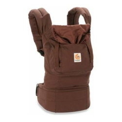 Ergobaby - Ergobaby Organic Collection Baby Carrier in Chocolate - This organic cotton baby carrier comfortably holds baby in an ergonomic, natural sitting position, It allows 3 baby-carrying positions (front, back and hip) and has a padded waistbelt to evenly distribute baby's weight between your hips and shoulders.
