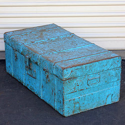 SmartWorld Manufacturing Group, Inc. - Vintage Aqua Traveler's Iron Storage Trunk - Discovered in the 1950s, this refurbished traveler's trunk boasts retro-chic charm and authentic weathering. A durable construction ensures lasting use for adventures of your own.   28.75'' W x 11'' H x 15'' D Iron Imported