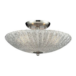Elk Lighting - Elk Lighting 10271/3 Luminese Transitional Semi Flush Mount Ceiling Light - Elk Lighting 10271/3 Luminese Transitional Semi Flush Mount Ceiling Light in Satin Nickel.